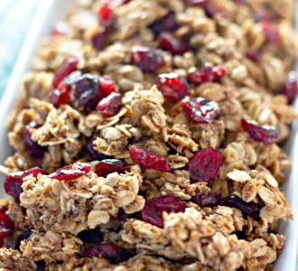 Homemade Cranberry Granola in a white dish.