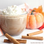 Pumpkin Hot Chocolate in a glass mug with whipped cream and cinnamon sticks.