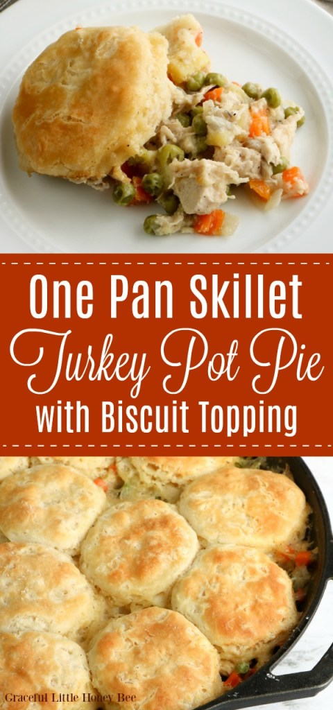 A collage of photos including Turkey Pot Pie in a skillet topped with biscuits and a portion of Turkey Pot Pie scooped out onto a while plate.