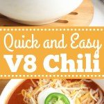 V8 Chili in a white bowl garnished with shredded cheese, sour cream and jalapeno.