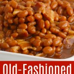A white serving dish filled with brown sugar baked beans.