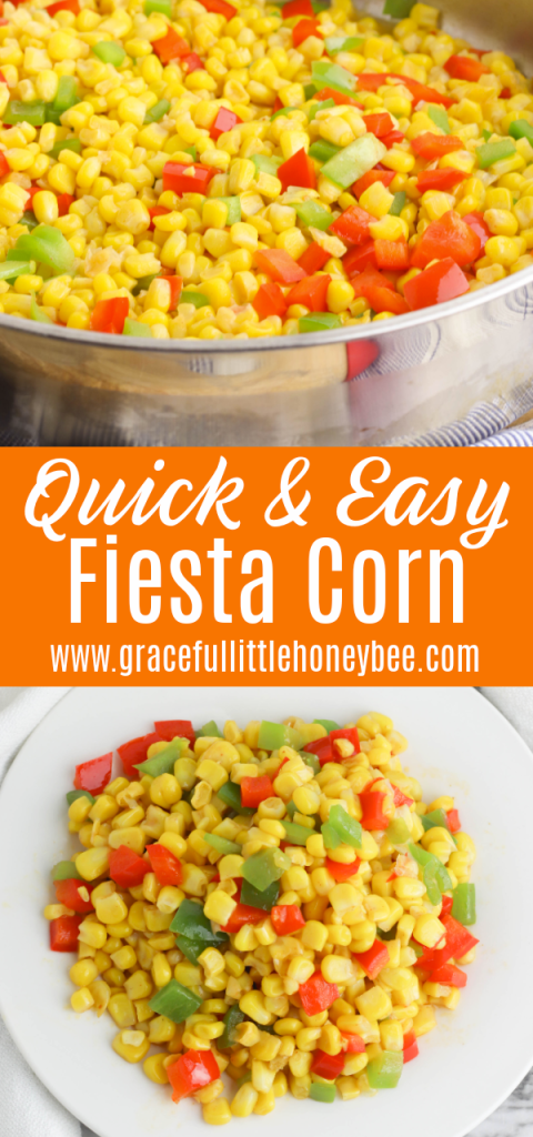A collage of two photos including Fiesta Corn on a round white plate and in a large round stainless steel skillet.