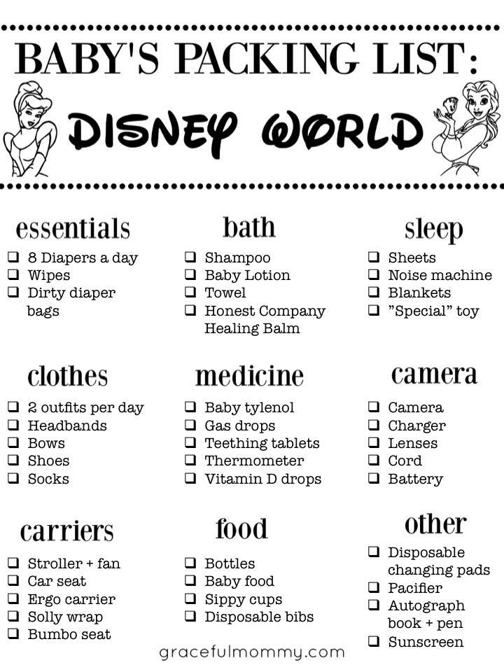 Baby packing list for Disney World! Excellent List!    Gracefulmommy.com