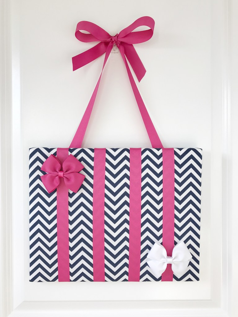 navy blue and hot pink chevron hair bow holder
