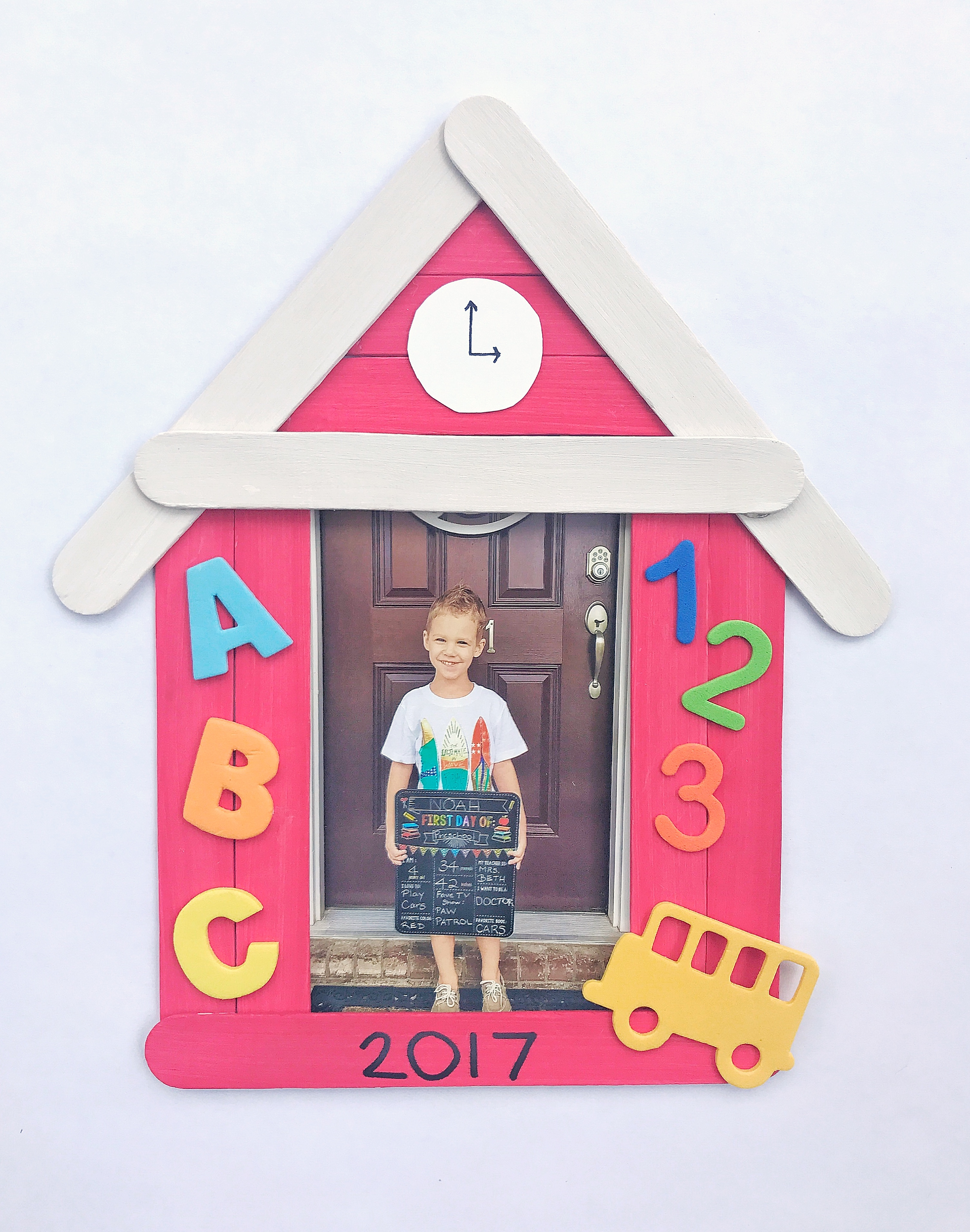 Popsicle stick schoolhouse picture frame craft grace giggles who else is ready for the school year to start have you started preparing for back to school yet jeuxipadfo Gallery