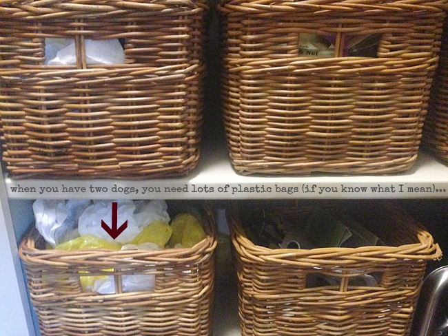 baskets keep me organized in the pantry