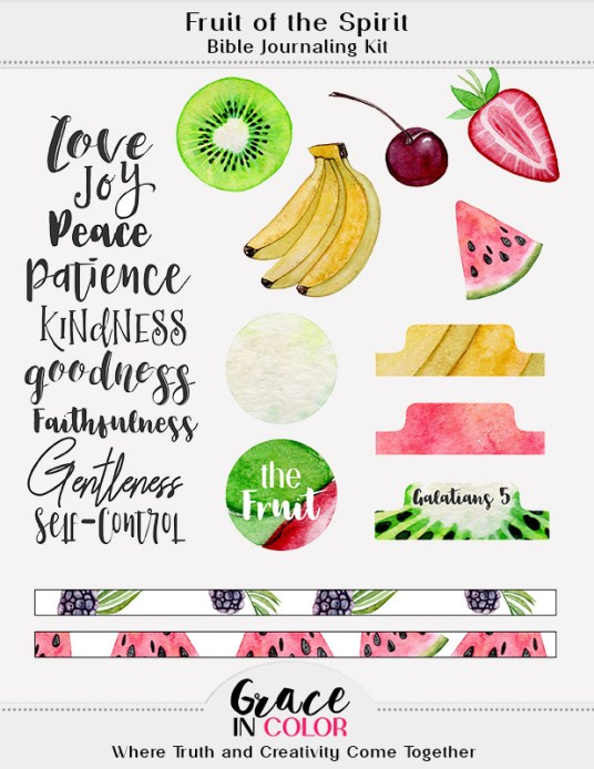 Free Bible Journaling Kit: Fruits of the Spirit by Grace in Color