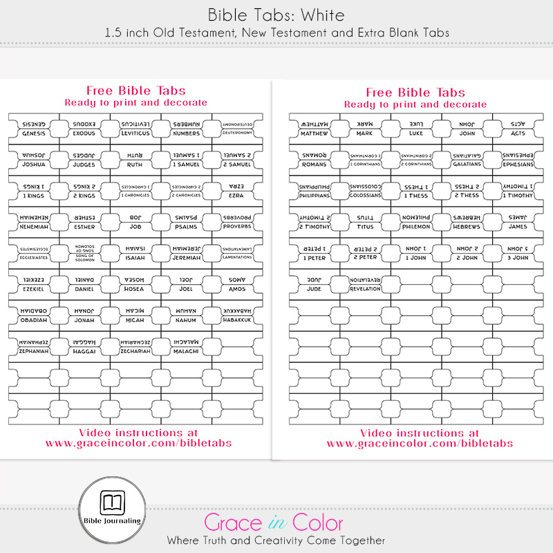 Printable Bible Tabs {FREE} from Grace in Color
