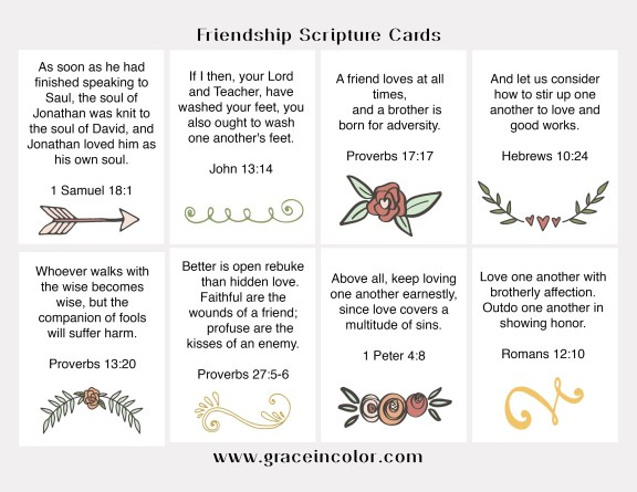 Friendship Scripture Journal Cards