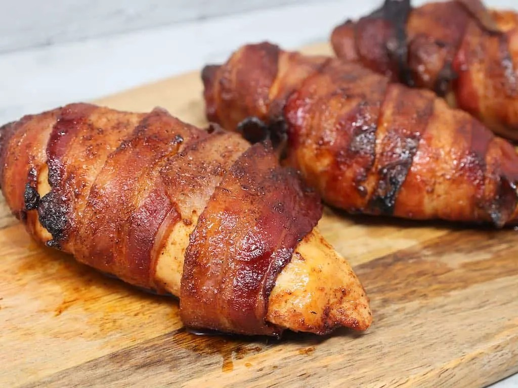 Air Fryer Bacon Wrapped Chicken Breasts