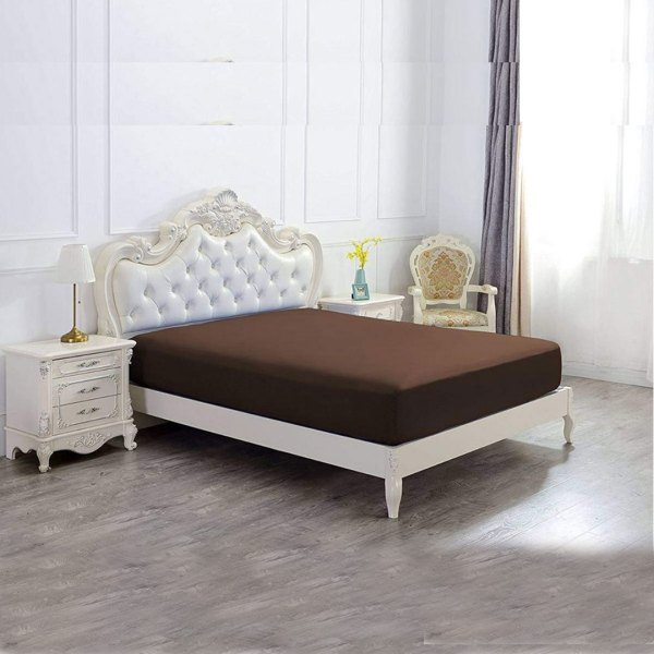 jersey fitted sheet brown