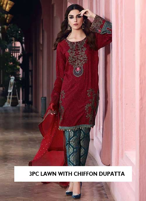 3pc embroidered lawn with chiffon dupatta collection 2021 latest