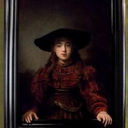 dziewczyna w ramie obrazu rembrandt