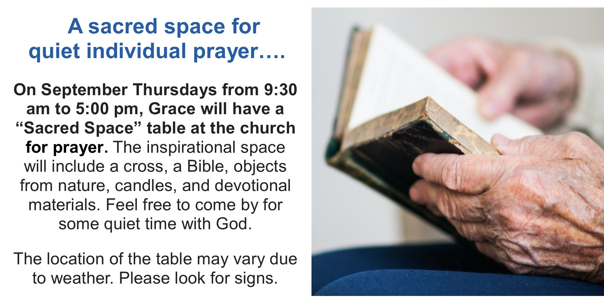 2020 9 Prayer space at Grace