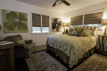 Guest bedroom with French Laundry bedding and plush linens