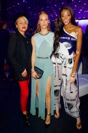 Jaime-Winstone,-Mary-Charteris-and-Winne-Harlow-attend-the-all-new-Jaguar-E-PACE-reveal-at-ExCel