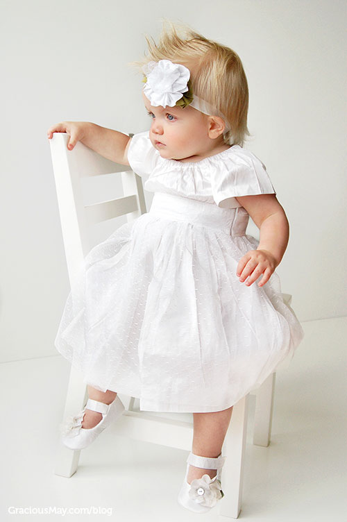 American Made in USA Formal wear Pure WHite Silk Gown for Girls