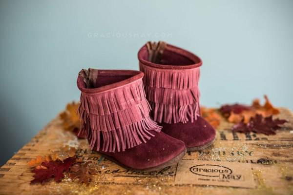 Toddler Moccasin Boots Autumn Bery Suede
