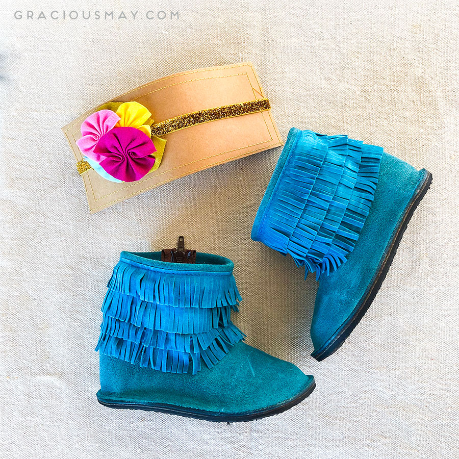 Turquoise Fringe Boots for Toddler Girls