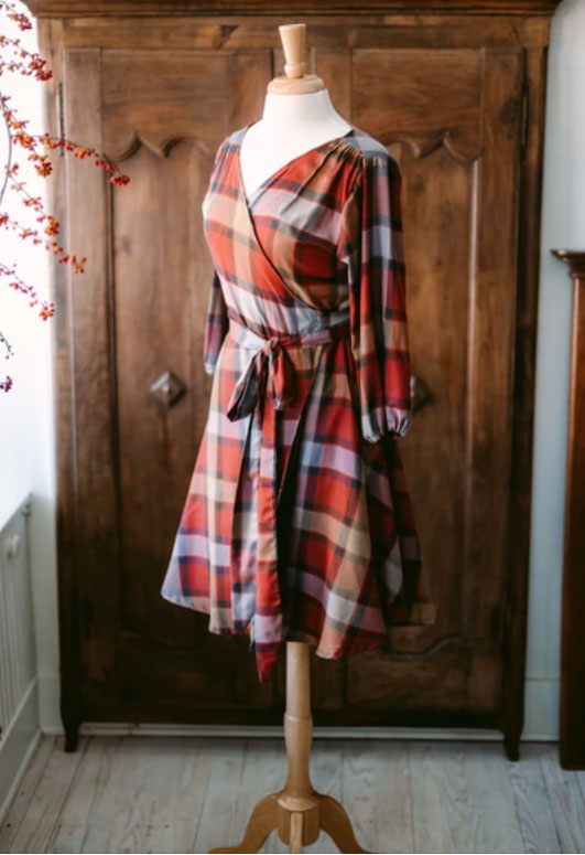 JANIE PLAID WRAP DRESS: WOMEN'S DRESSES MADE IN THE USA