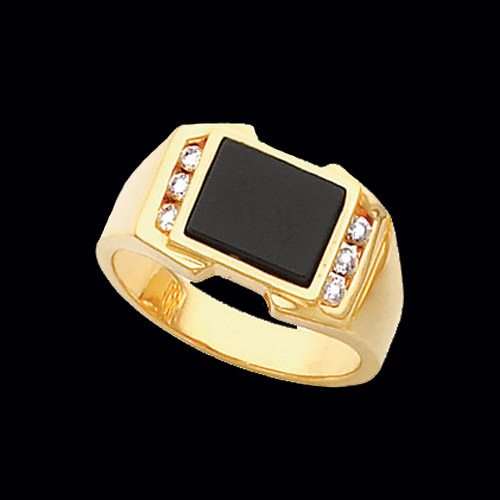 Diamond Onyx Mens Ring