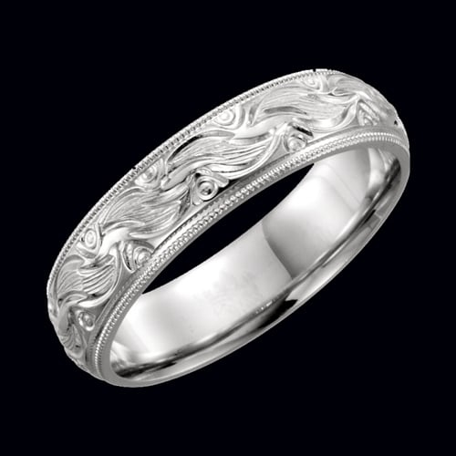 Gold Hand Engraved Wedding Band