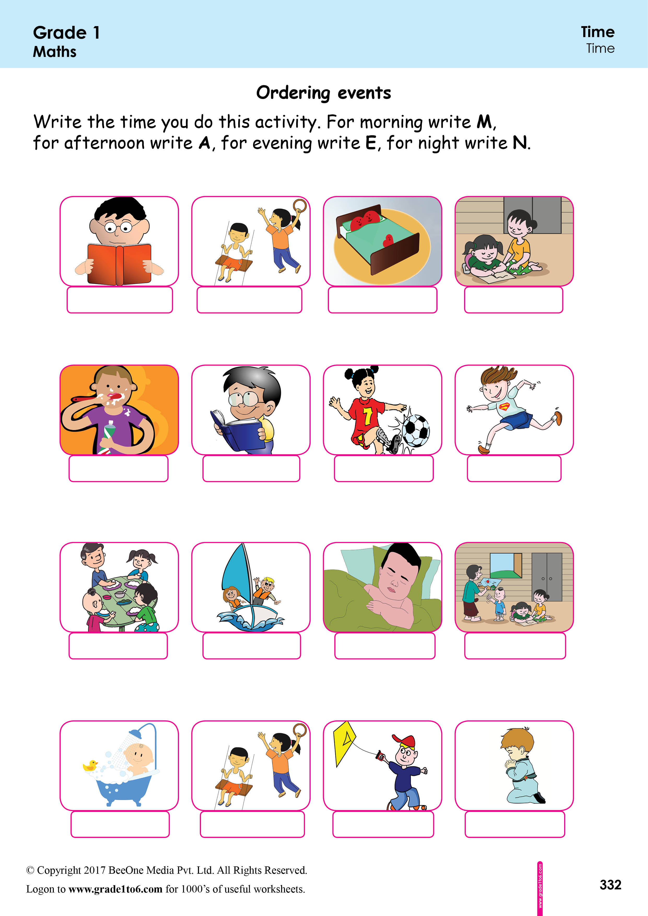 Sequencing Events Based On Time Worksheets Grade1to6
