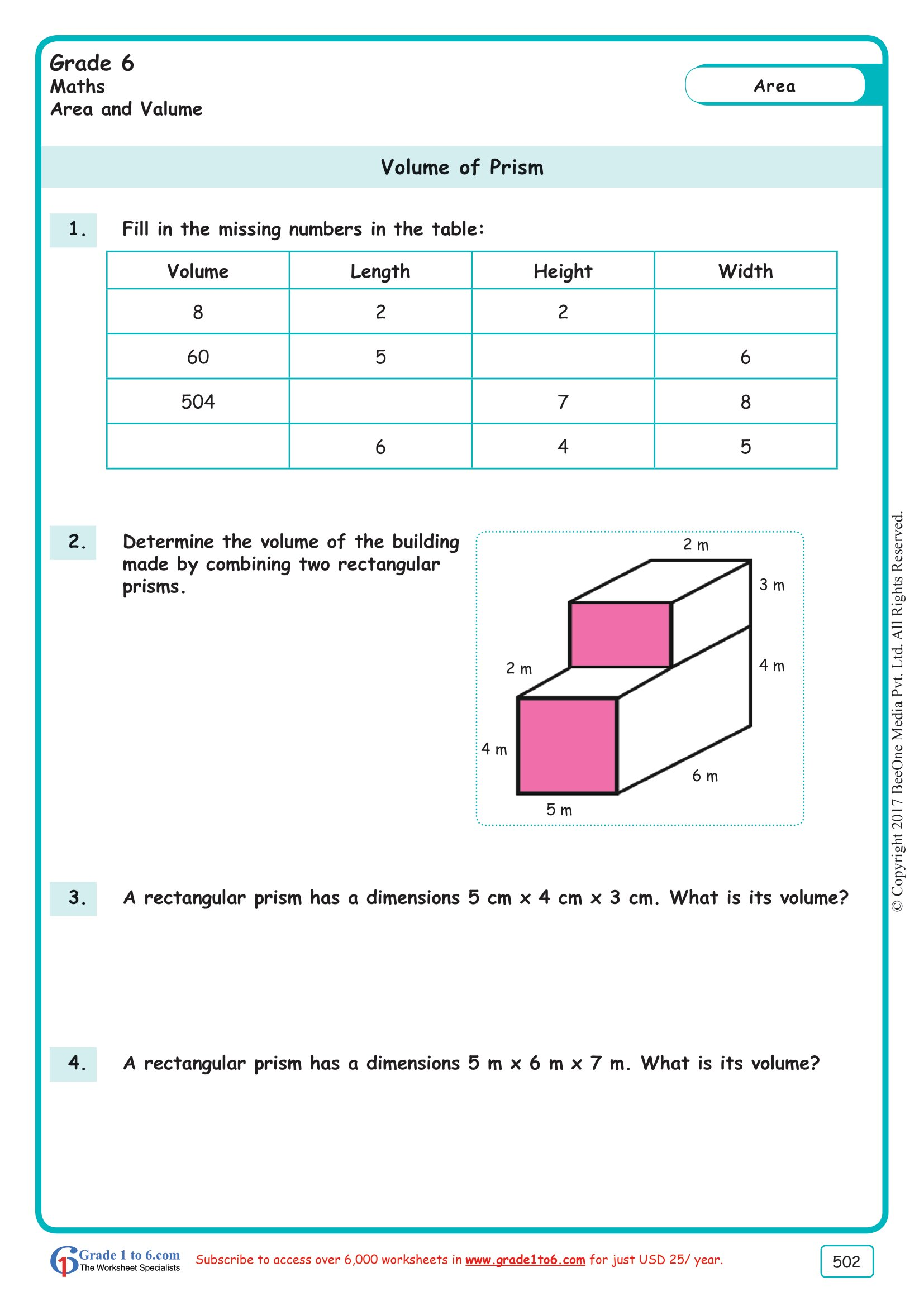 Grade 6 Class Six Volume Of Prism Worksheets Ade1to6