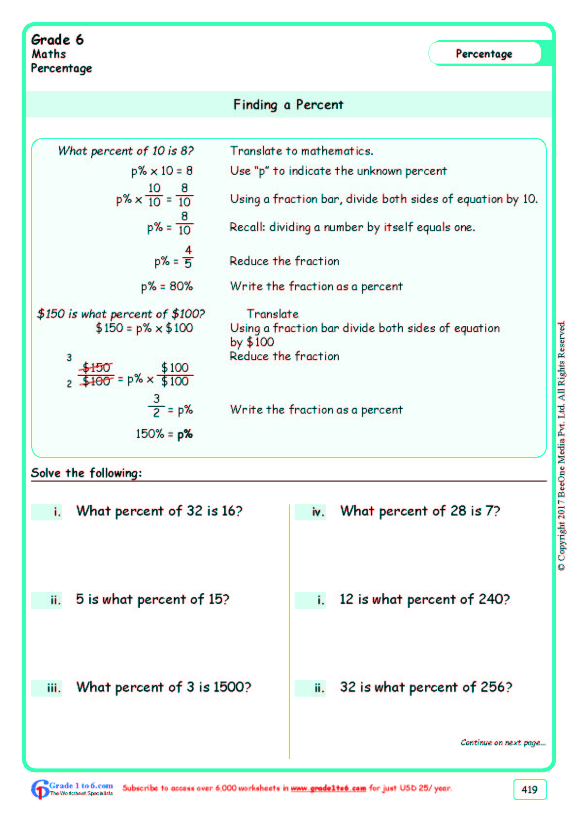Grade 6 Class Six Percentages Worksheets Ade1to6