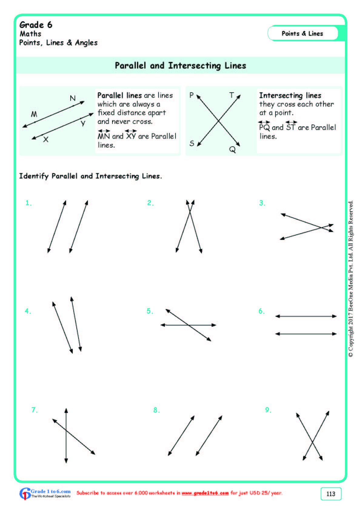 Grade 6 Class Six Parallel Lines Worksheets Ade1to6