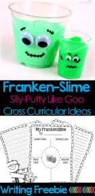 "Slime, goo, GAK, silly-putty….Whatever you call it, goo is fun! These ""Franken-Slime"" cups are a great project to do with the kids. There's a writing freebie and ideas for cross-curricular integration too!"