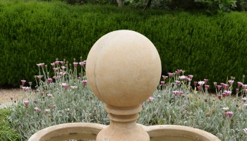 ornamental fountain at Arlington Garden in Pasadena, California.