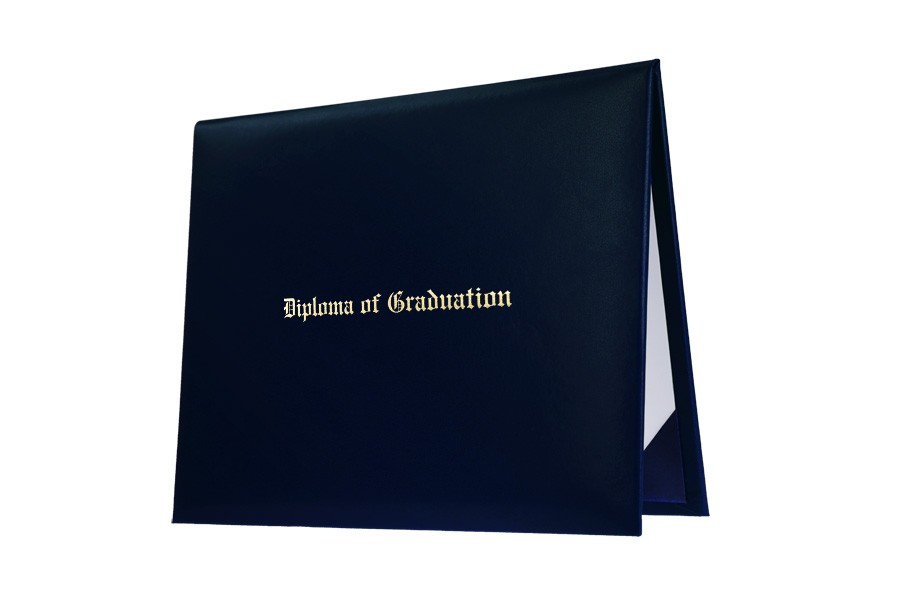 Navy Blue Imprinted College Diploma Cover Gradshop