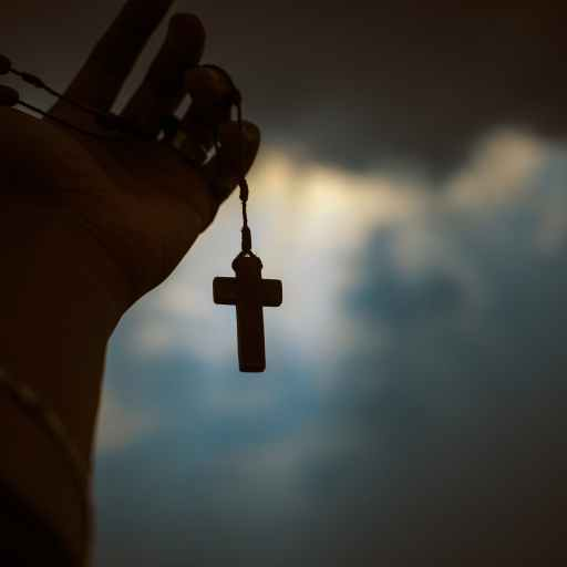 person holding brown wooden cross