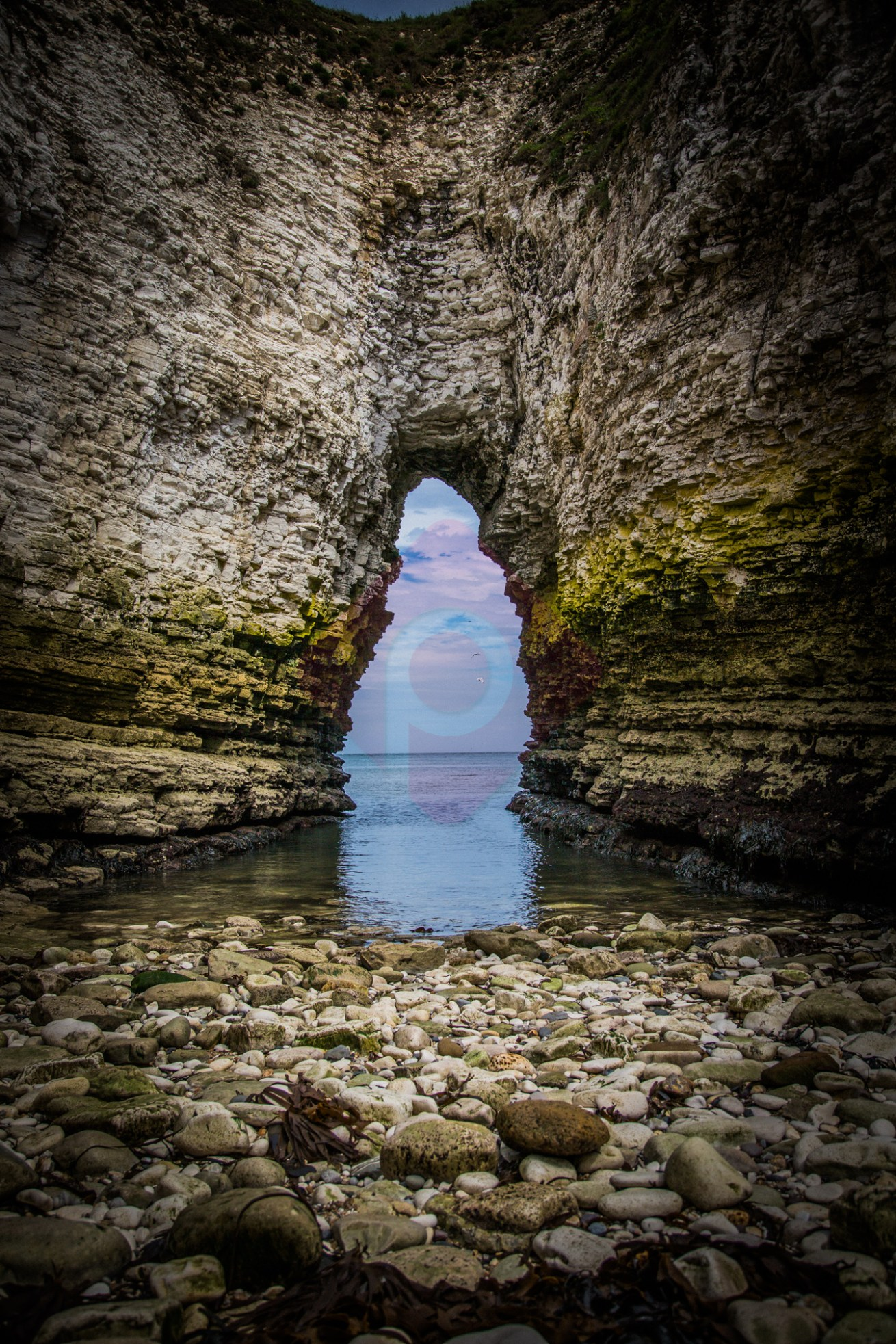 Hole in the cliffs at Flamborough Head