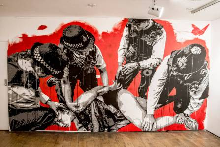 Nils Westergard wall piece inside gallery