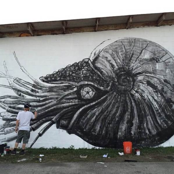 ROA's kicks off the event with this nautilus. photo courtesey of @palmettosilentstage