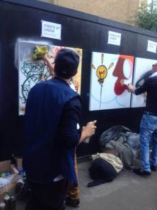Live spray painting for streets of London Charity.