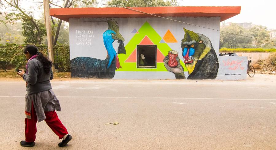 Mural Location: Garbage Collection Centre, D Block 238-247, Defence Colony