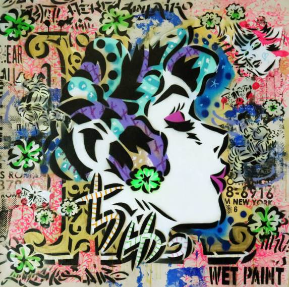 Aiko-K for Kiss-Spray paint and mixed media on canvas-97x94cm