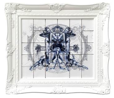 Handiedan-Dyade-Fired print on ceramic tiles on a panel in an ornamental frame-72x82cm framed