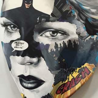 Sandra Chervier-DETAIL OF La Cage se Laissant Absorber par une Nuit Re¦üconfortante-Acrylic on hand carved wooden panel-40x29cm