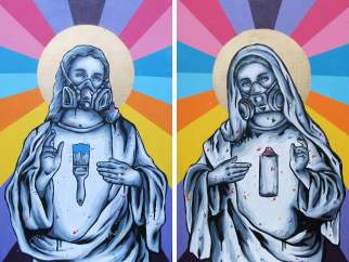 Zabou-Bless-Spray paint and acrylic on two canvasses-51x77cm each canvas