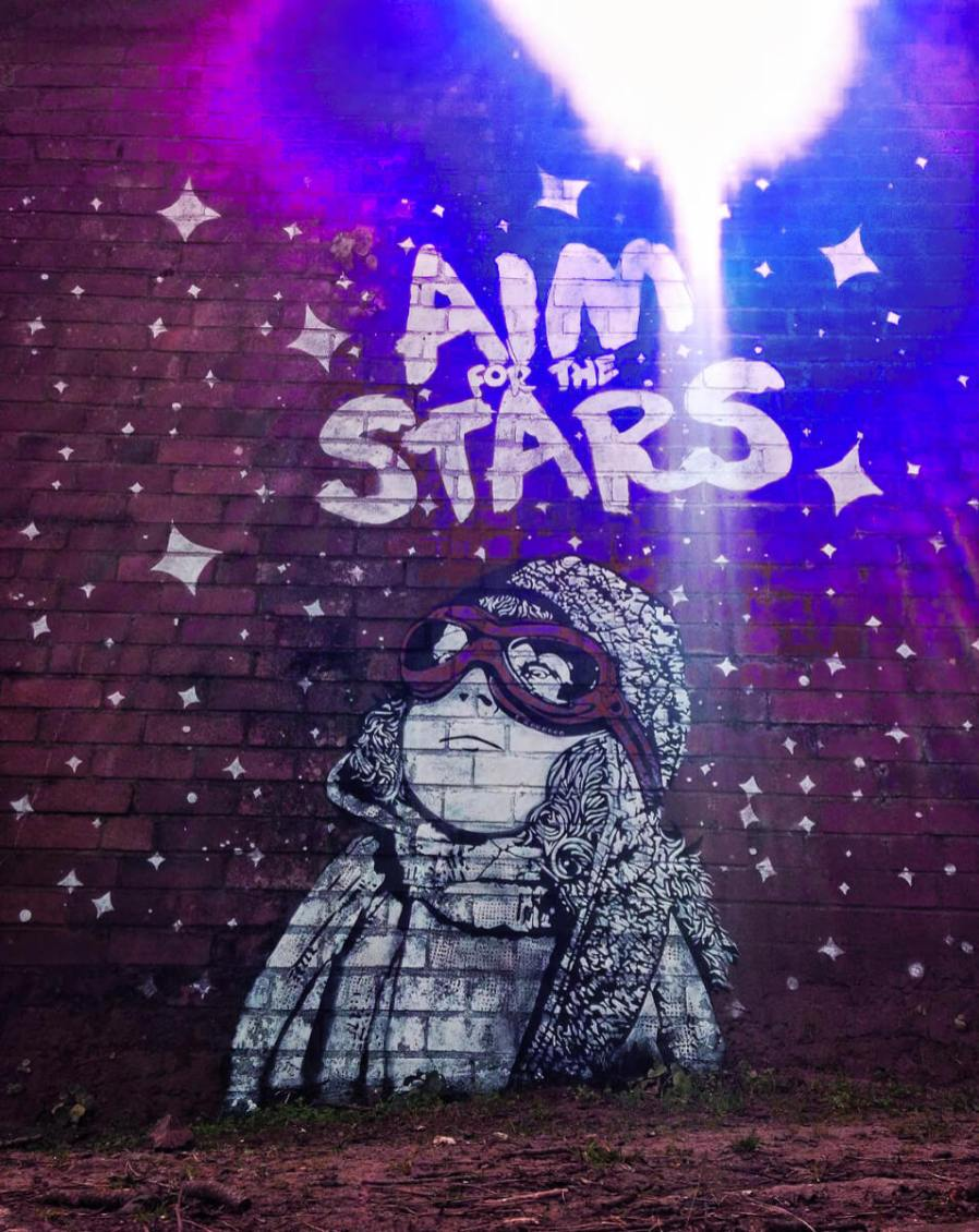 NME street art mural 'Aim for the Stars' in Dawlish