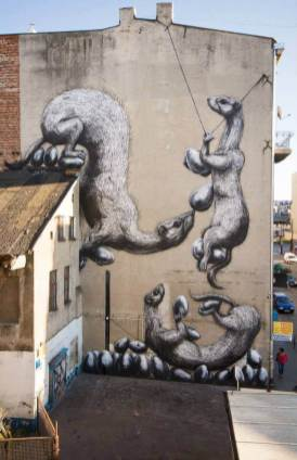 ROA, Urban Forms street art gallery, Lodz, Poland.