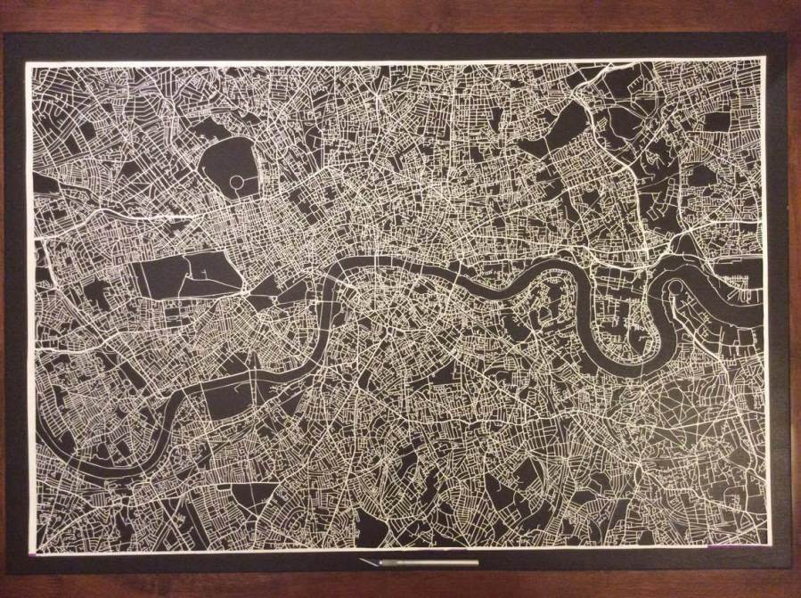 Nils Westergard, Stencil cut map of London, Underground 2016