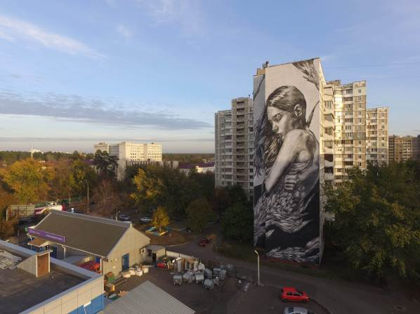 Paola Delfin, Art United Us Street Art Project, Kiev Photo credit @dronarium