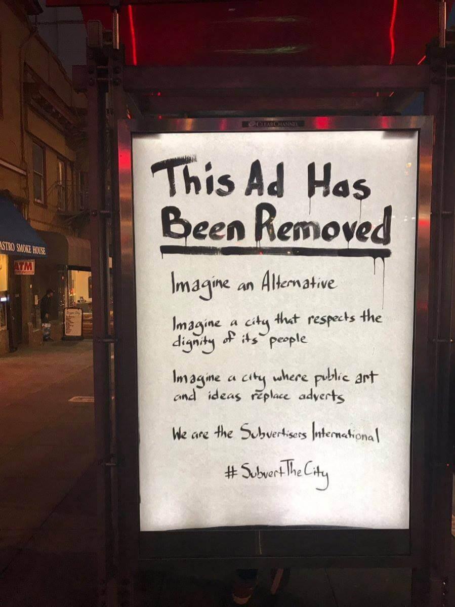 #SubvertTheCity, Subvertisers International Anti-Advertisement Takeover, March 2017.