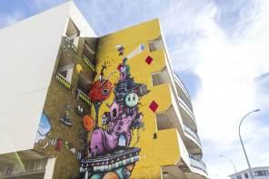 Jacob Yikes, Paradox Tauranga Street art Festival 2017. Photo credit Luke Shirlaw