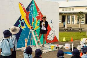 Alyssa Irizarry, Seawalls: Artists for Oceans, Napier, NZ. Photo Credit Olivia Laita